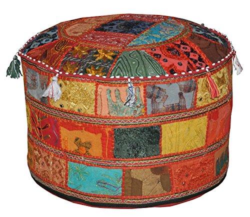 Bhagyoday Fashions Ethnic Decorative Pillow Decor, Indian Pouffe, Round Pouf,Boho Foot Stool, Bohemian Floor Ottoman,Comfortable Floor Cotton Cushion