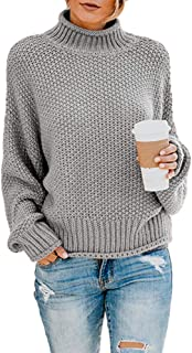 Ybenlow Womens Turtleneck Sweaters Batwing Long Sleeve Casual Loose Oversized Chunky Knit Pullover Jumper Tops