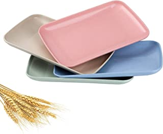 Wheat Straw Life Plates Lightweight Unbreakable 9.6 Inch Dinner Plates Set Rectangle Microwave Dishwasher Safe Plates for ...