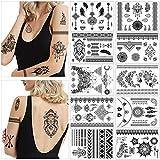 HOWAF 10 Blätter groß Schwarz Temporäre Tätowierung Aufkleber Für Erwachsene Frauen Mädchen Feder Mandala Blume Tattoos Wasserdicht Arm Temporäre Tattoos Spitze Indischen Sexy Tatoos