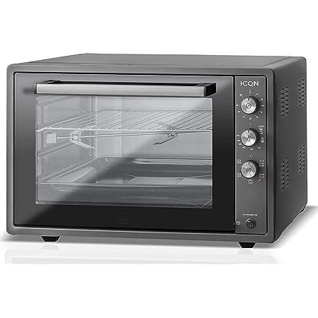 ICQN 70XXL Mini-Four | 1800 W | Four a poser avec chaleur tournante , 5 fonctions | Four à pizza | Double vitrage | Minuterie Mécanique | Cavité en émaillée Noir