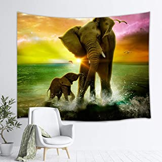 NYMB Africa Elephant Tapestry Safari Art, Animal and Baby Playing in Ocean at Sunrise, Wall Hanging Hippie Tapestries for Bedroom Living Room Dorm TV Backdrop Beach Blanket 3D Print 60X40 Inches