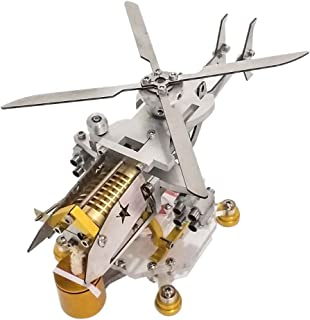 WOLFBUSH Stirling Engine Model, Armed Version Helicopter Horizontal Single Cylinder Vacuum Stirling Model Toy - Silver