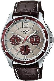 ساعة سوار جلد بمينا رمادي للرجال - MTP-1374L-7A1VDF، من كاسيو