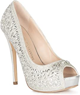 Lauren Lorraine Candy 3 Platform Heel Pump Peep-Toe Silver Stiletto Shoes