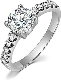 HZMAN كلاسيك 4 برونغ تشيكوسلوفاكيا خواتم الخطوبة الماس للنساء الذكرى السنوية وعد الزفاف خاتم الزفاف الحجم 6-10