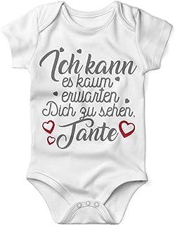 Mikalino Babybody mit Spruch für Jungen Mädchen Unisex Kurzarm Ich kann es kaum erwarten Dich zu sehen Tante | handbedruckt in Deutschland | Handmade with Love