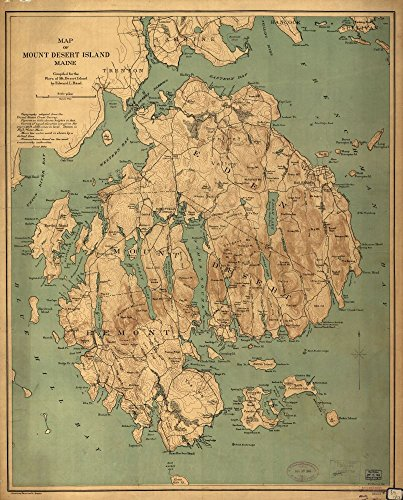 INFINITE PHOTOGRAPHS 1893 Map of Map of Mount Desert Island, Maine. Maine, Mount Desert Island, United States