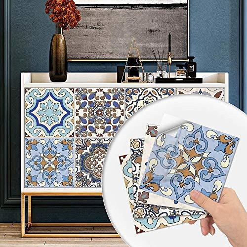 20 hojas Pegatinas de Baldosas Autoadhesivo Placa para Salpicaduras de Cocina , Vinilo azulejos Baldosas de pared de baño,Azulejos turcos,10x10cm