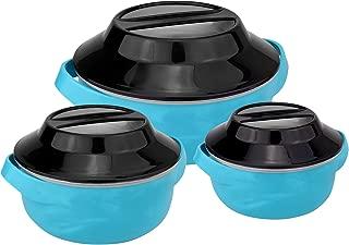 Wellgro Juego de cuencos t/érmicos 1500 ml, 1000 ml y 500 ml, aptos para microondas