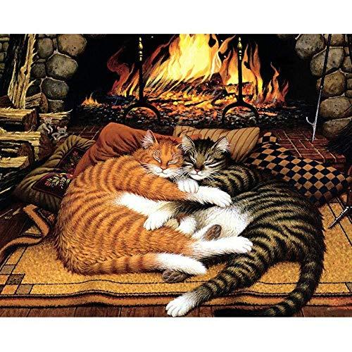 MEEKIS DIY Zahlen Ölgemälde das fette Katzen am Kamin für erwachsenes Kinderfreund Geschenk zeichnet 40X50CM-No Frame