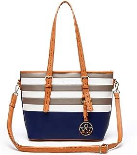 navy striped purse