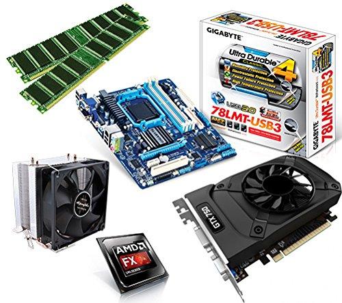 One PC Aufrüstkit | AMD FX-Series Bulldozer FX-8320, 8x 3.50GHz | montiertes Aufrüstset | Mainboard: Gigabyte GA-78LMT-USB3 | 16 GB RAM (2 x 8192 MB DDR3 Speicher 1600 MHz) | CPU Mainboard Bundle | Grafik: 2 GB NVIDIA GeForce GTX 1050 (HDMI, DVI, DP) | komplett fertig montiert!