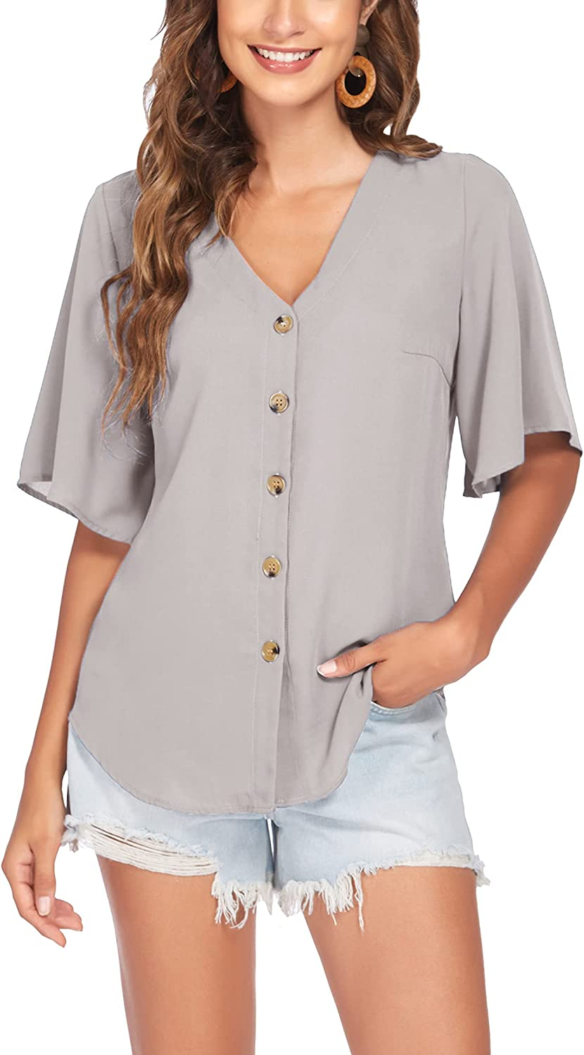 Meaneor Womens V Neck Button Down T Shirts Loose Short Sleeve Chiffon Blouse Summer Casual Tops S-XXL