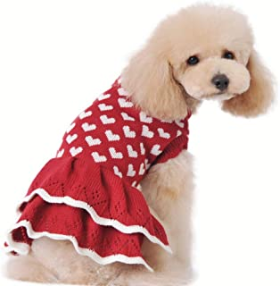 Stock Show Small Dog Cute Warm Sweater Pet Fashion Beautiful White Love Heart Princess Style Sweater Dress Red Female Girl Dog Puppy Cat Winter Fall Spring Soft Knitwear Pullover Clothes Apparel