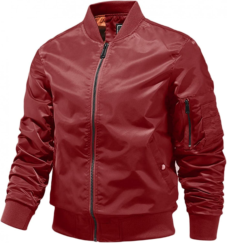 Men's Casual Bomber Jacket Plus Size Lightweight Thin/Add Cotton Windproof Full Zip Flight Jacket Windbreaker Outerwear
