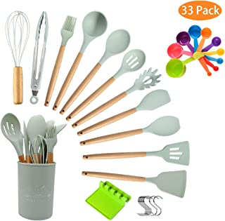 Top4you Kitchen Utensil Set, 33 Silicone Cooking Utensils, Anti-stick and 446°F Heat Resistant, Durable Kitchen Gadgets Cookware Set with Wooden Handles.