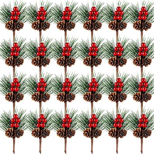24 Pezzi Mini Plettri di Pino Natalizi Artificiali Piccole Piante di Pino Bacche Rosse Raccolta di Rami di Bacche Raccogliere Bacche Finte Decorazione Natalizia per Feste
