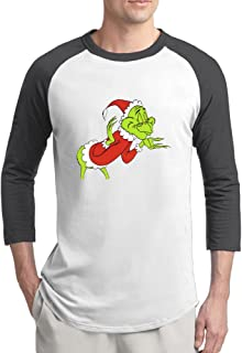 CAYE The Grinch Mens Funny 100% Cotton 3/4 Sleeve Athletic Baseball Raglan Sleeves T-Shirt