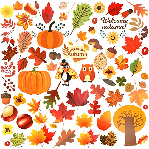 Qpout Thanksgiving Fenster Aufkleber Herbst Fenster Aufkleber Abziehbilder Dekorationen für Thanksgiving Party Herbst Ernte Festival Saisonale Dekor, Ahornblatt Truthahn Kürbis Sonnenblume