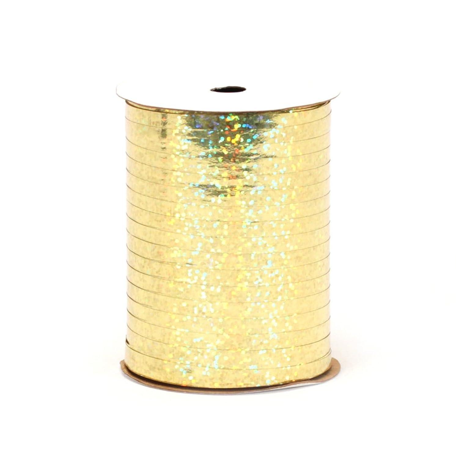 Berwick GL10015 Glitter Uncrimped Curling Ribbon, 3/16-Inch Wide by 100-Yard Spool, Gold