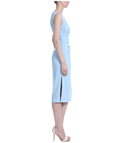 Badgley Mischka Side Ruched Fitted Crepe Dress (Light Blue) Women