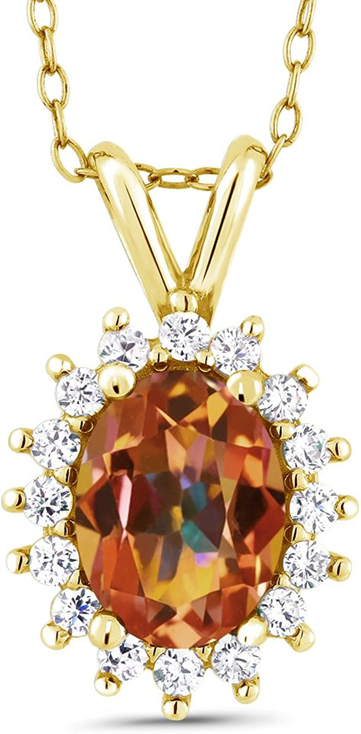 Ecstasy Mystic Topaz 18K Yellow gold Plated Silver Pendant 1.54 Cttw With 18 Inch Chain
