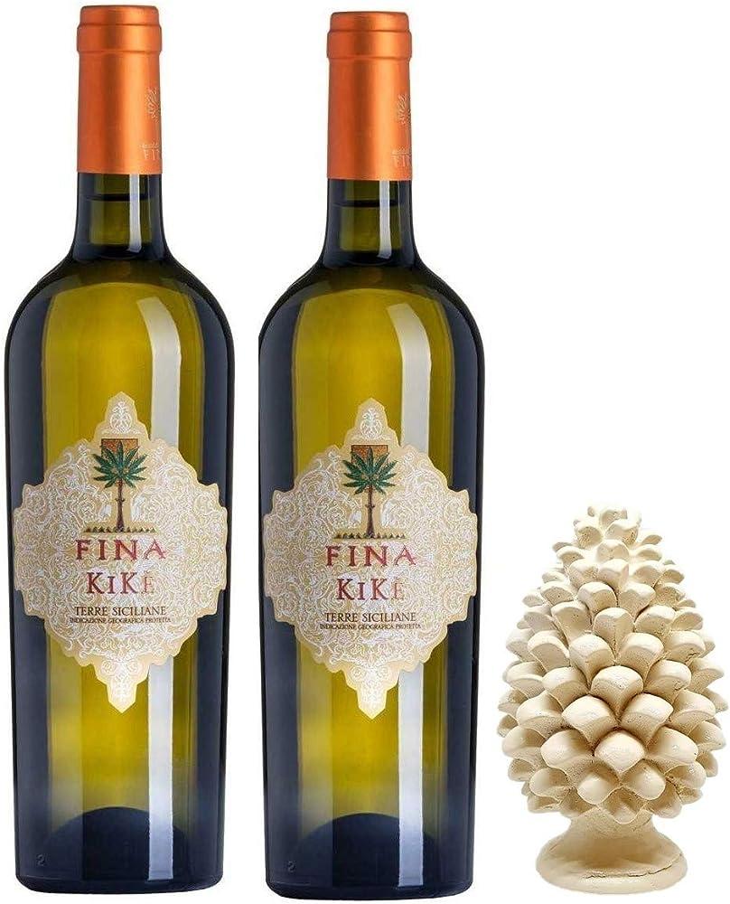 Sicilia bedda - cantine fina - 2 bottiglie di vino bianco kike, piu` pigna siciliana in ceramica 12 cm