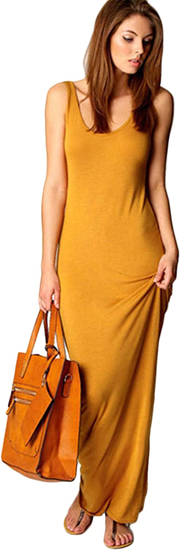 OMZIN Women's Casual Long Dress Simple Tank Solid Color Dress Sleeveless Maxi Dress