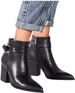 Frunalte Women Fashion Zipper Bootie, Square Heel Ankle Boots Low-High Short Boots