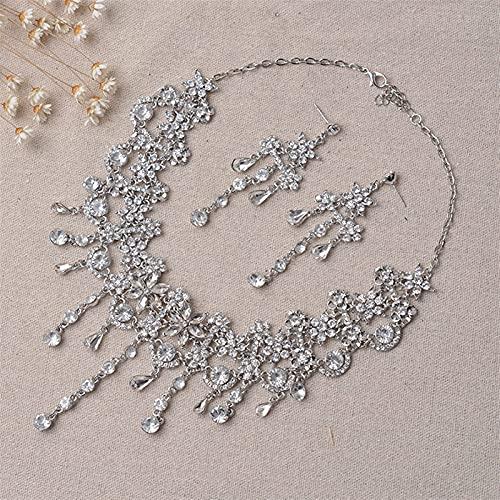Conjunto de joyería nupcial de flores de cristal de Color plateado de lujo para mujer, collar llamativo, pendiente, Tiara de diamantes de imitación, accesorios de boda