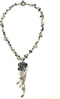 【ネックレス】【完成品】ネックレス 天然石 ラブラドライト シェル スワロフスキー 黒 パーティー