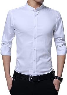 Men's Dress Shirt Banded Collar Long Sleeve Slim Fit Tuxedo Shirt