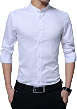 Boyland Men's Dress Shirt Banded Collar Long Sleeve Slim Fit Tuxedo Shirt