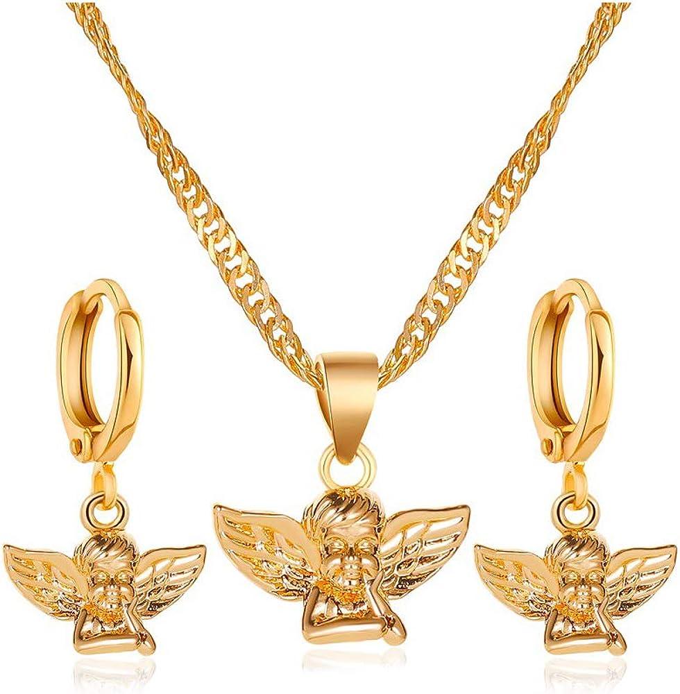 HUJUON Gold Angel Baby Necklace Hoop Earring Set for Women.Cherub Angel Wing Guardian Dangle Earring Pendant Necklace