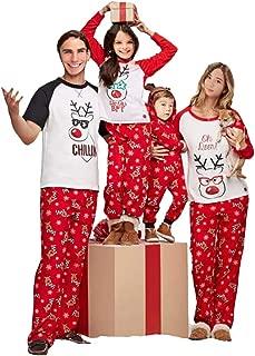 Family Matching Christmas Pajamas Set Deer Tops and Long Pants Sleepwear for Family
