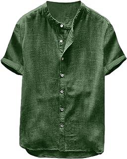 iHAZA Men's Baggy Cotton Linen SOID Color Short Sleeve Retro T Shirts Tops Blouse