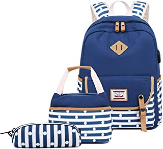 MITOWERMI Girls Backpack Set 3 in 1 School Backpack for Girls Elementary Kids Bookbag with Lunch Bag