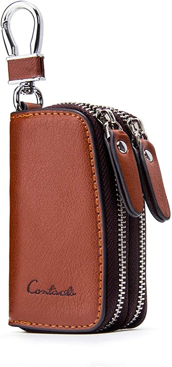 Contacts-Genuine Leather Car Key Keychain Holder Metal Hook and Keyring Zipper
