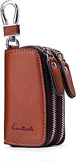 اطلاعات تماس اصل چرم دو Zipper Car Key holder Key Case Wallet Men Women