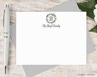 NAVY MONOGRAM - Personalized FLAT Elegant Laurel Wreath Stationery/Holiday Family Stationary Note Card Set