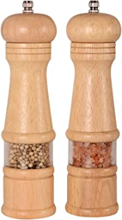 Haomacro Salt and Pepper Grinder Set, Wood Pepper Mills,Salt and Pepper Shakers with Acrylic Visible Window,Ceramic Grinding Core- 8 Inches–Pack of 2