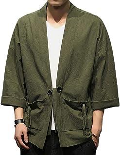 Kimono para Hombre Chaqueta de Verano Cardigan Jacket Casual Pijama de Meditación