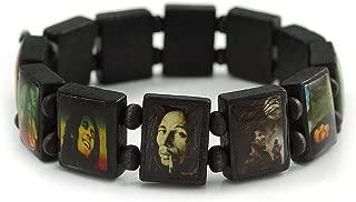 Black Bob Marley One Love Wooden Stretch Bracelet - up to 20cm Length