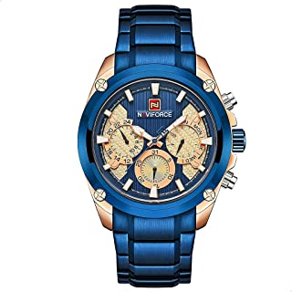 Naviforce 9113 RG-BE-BE Stainless Steel Analog Watch for Men - Blue