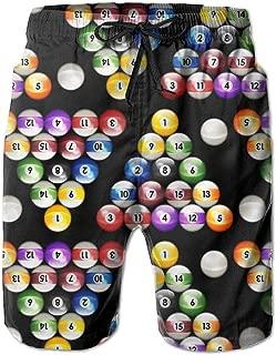 Man Summer Pool Balls Billiards Colors Pattern Quick Dry Beach Shorts Board Shorts Swim Trunks Cargo Shorts