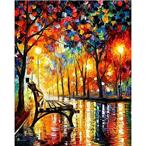 Moohue Moohue Modern Embroidery Pattern Oil Painting Quiet Night 14CT Counted Cross Stitch Kits DMC Cotton Thread Craft Supplies (Quiet Night)