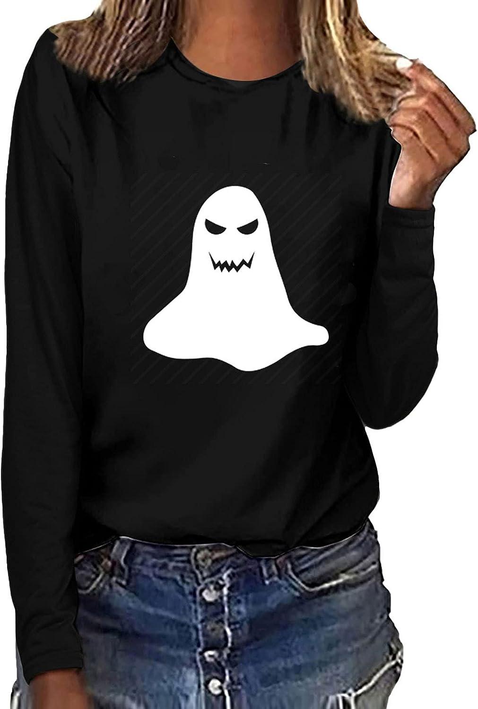 Women Halloween Sweatshirts Fashion Luminous Printed Blouses Tees O-Neck Long Sleeve T-Shirt Tops