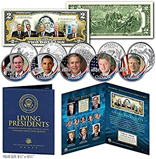 LIVING PRESIDENTS U.S $2 Bill w/5-Coin Statehood Quarter Set LARGE 8x10 DISPLAY