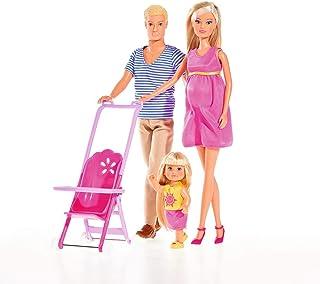 Simba 105733200 - Steffi Love Happy Family, zwangere pop,vriend Kevin, zuster Evi Love en baby, met kinderwagen,vanaf 3 ja...